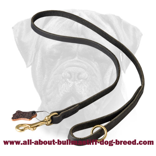Bullmastiff Leather with Floating Ring Leash