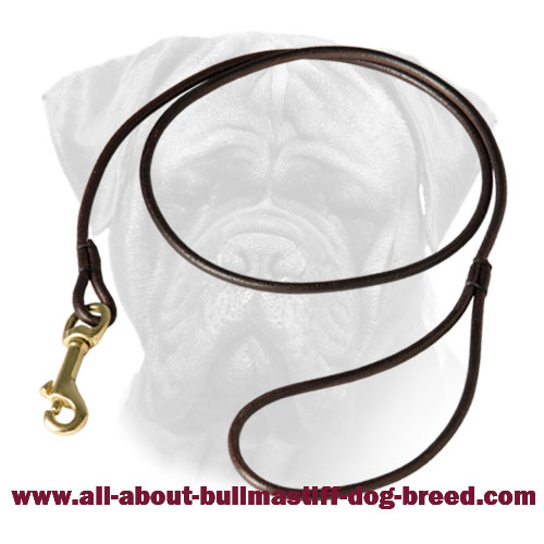 Bullmastiff Leather Round Leash for Dog Show