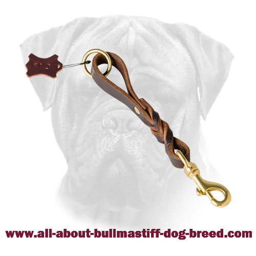 Bullmastiff Leather Short Leash Brass Hook