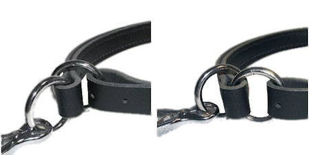 Adjustable Leather Slip Collar with solid NICKEL hardware for Bullmastiff